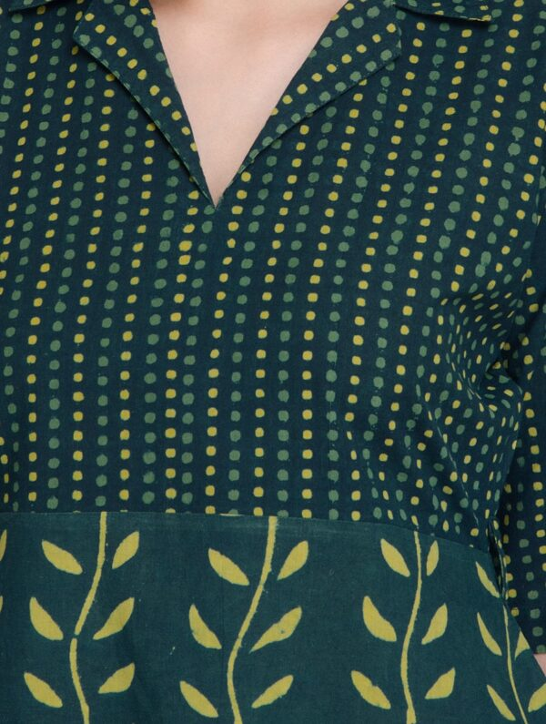 Hand Block Printed Green and Yellow Dabu Dress DARTSTUDIO DS2003