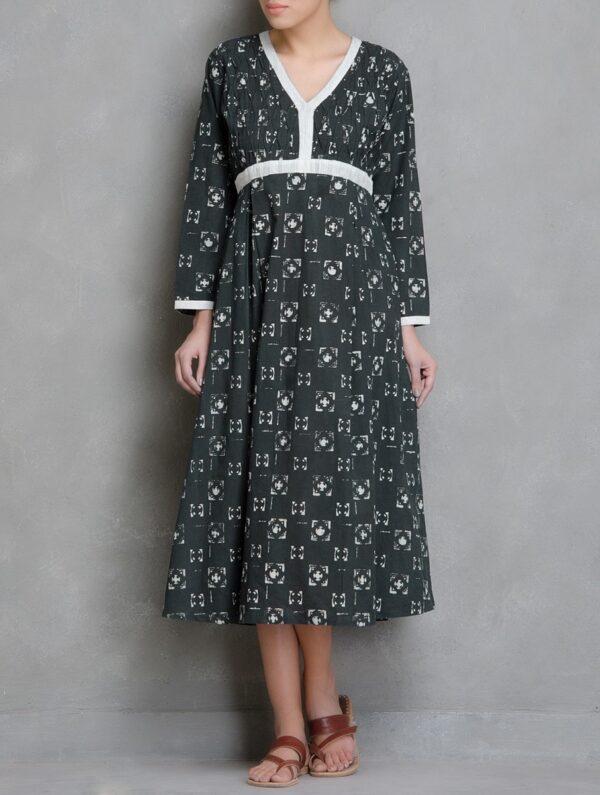 Hand Block Printed Charcoal and Ivory Dabu Dress DARTSTUDIO DS2006