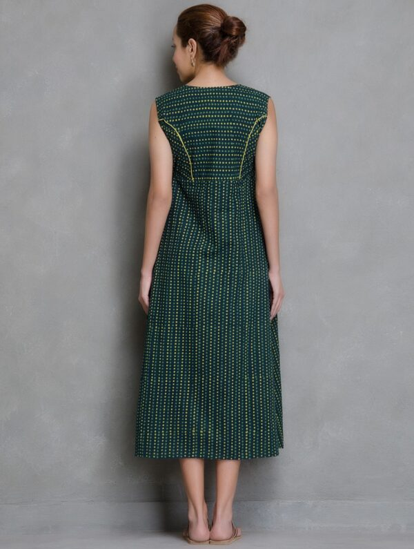 Hand Block Printed Green and Yellow Dabu Dress DARTSTUDIO DS2011
