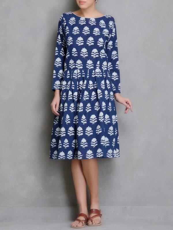 Hand Block Printed Blue and White Dabu Dress DARTSTUDIO DS2008