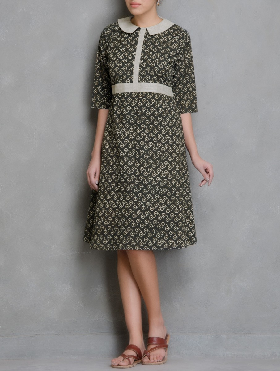 Hand Block Printed Brown and Ivory Dabu Dress DARTSTUDIO DS2007