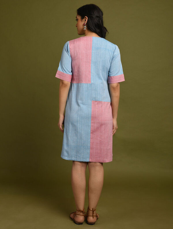 Hand Embroidered Pink Blue Cotton Dress DARTSTUDIO DS2136