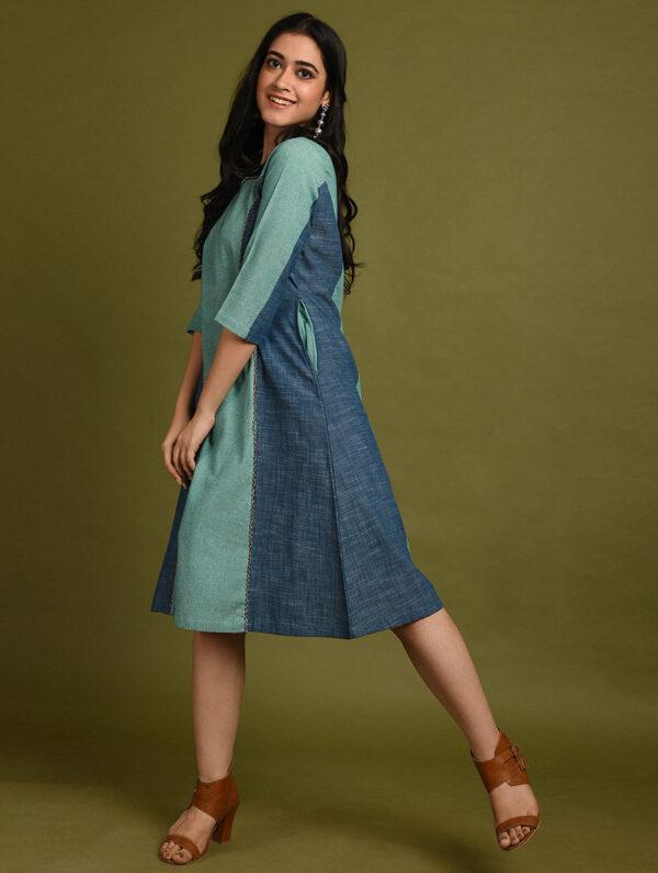 Hand Embroidered Blue Green Cotton Dress DARTSTUDIO DS2137