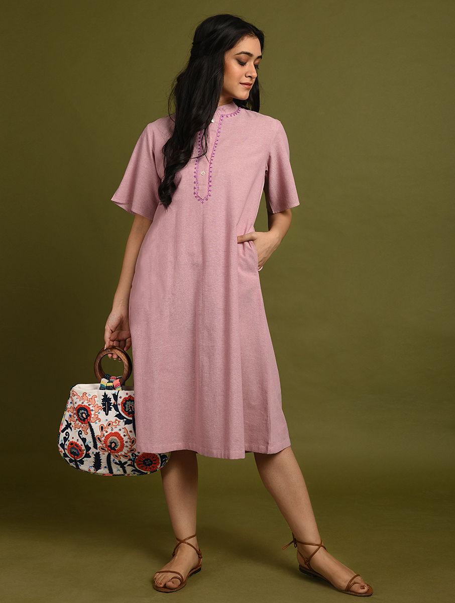 Hand Embroidered Pink Cotton Dress DARTSTUDIO DS2138