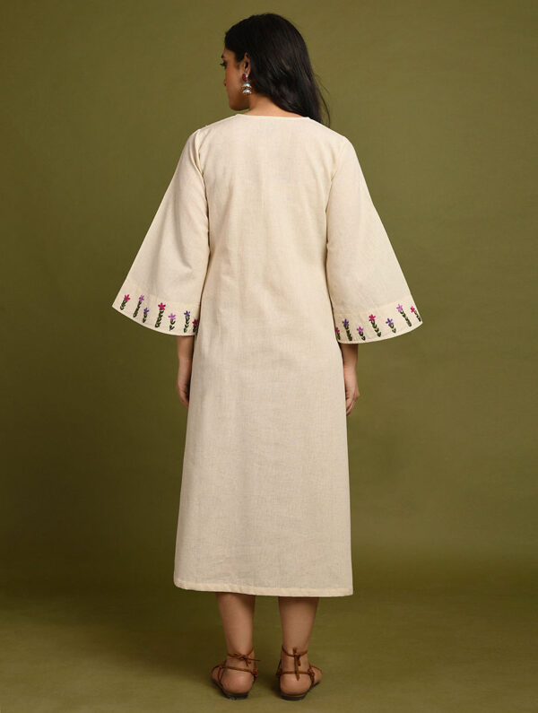 Hand Embroidered Off White Cotton Dress DARTSTUDIO DS2139