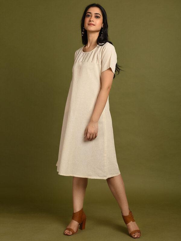 Hand Embroidered Off White Cotton Dress DARTSTUDIO DS2140