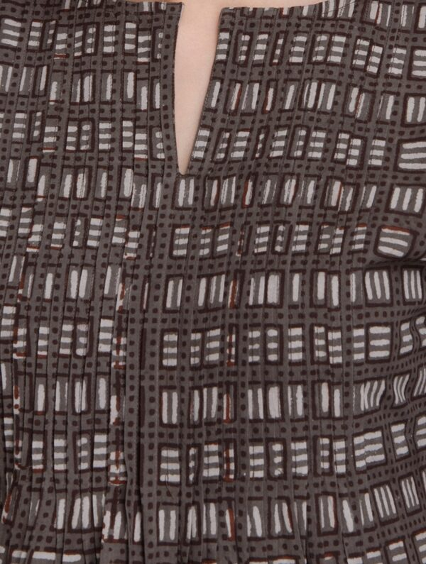 Hand Block Printed Brown and Ivory Dabu Dress DARTSTUDIO DS2001
