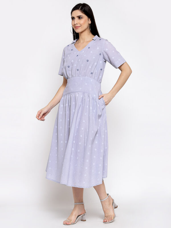 Hand Embroidered Light Blue Cotton Dress DARTSTUDIO DS2158