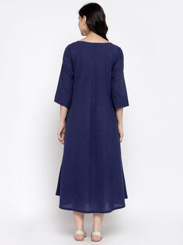 Hand Embroidered Dark Blue Cotton Dress DARTSTUDIO DS2159