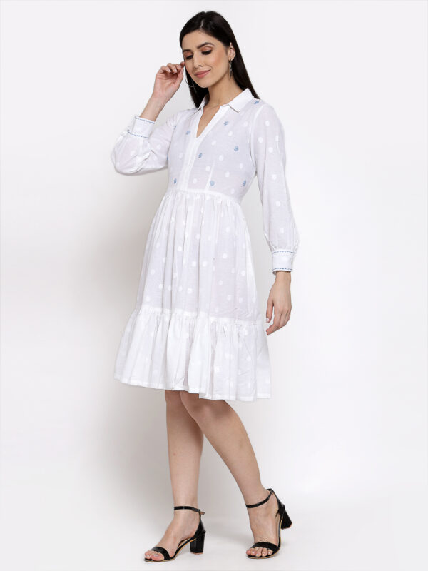 Hand Embroidered White Cotton Dress DARTSTUDIO DS2160
