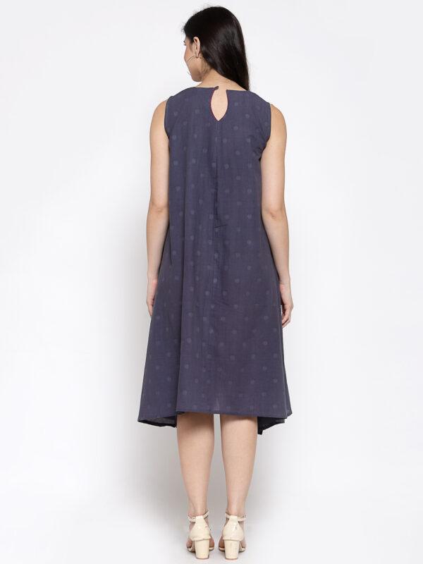 Hand Embroidered Dark Blue Cotton Dress DARTSTUDIO DS2161