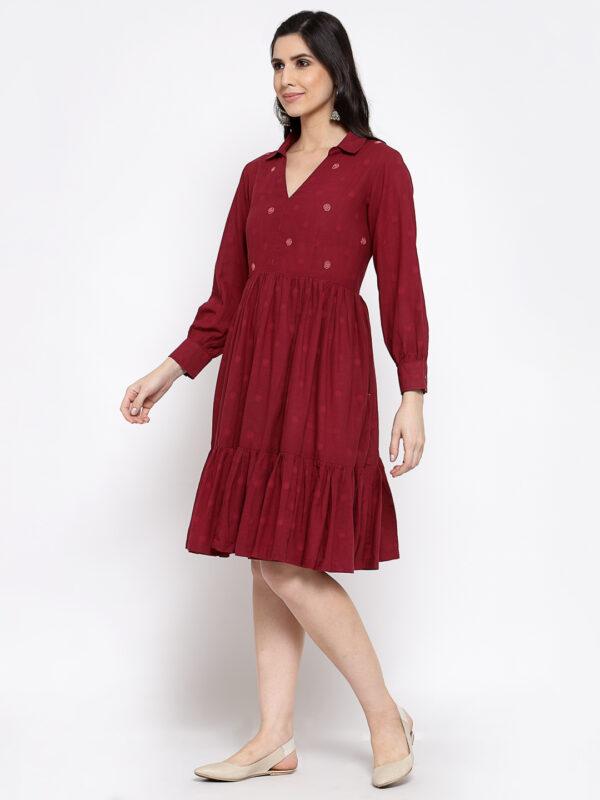 Hand Embroidered Maroon Cotton Dress DARTSTUDIO DS2165