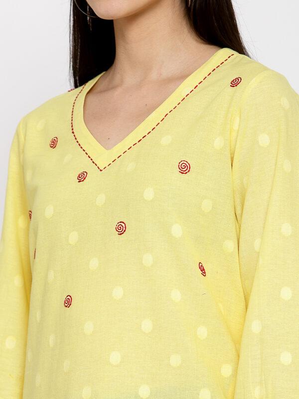 Hand Embroidered Yellow Cotton Kurta DARTSTUDIO DS2167