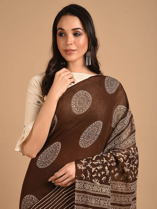 Hand Block Printed Ajrakh Mulmul Brown Saree DS7119