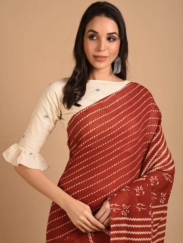Hand Block Printed Ajrakh Mulmul Maroon Saree DS7118