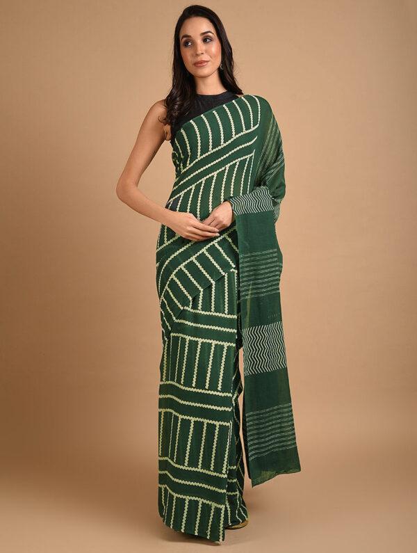 Hand Block Printed Ajrakh Mulmul Green Saree DS7118