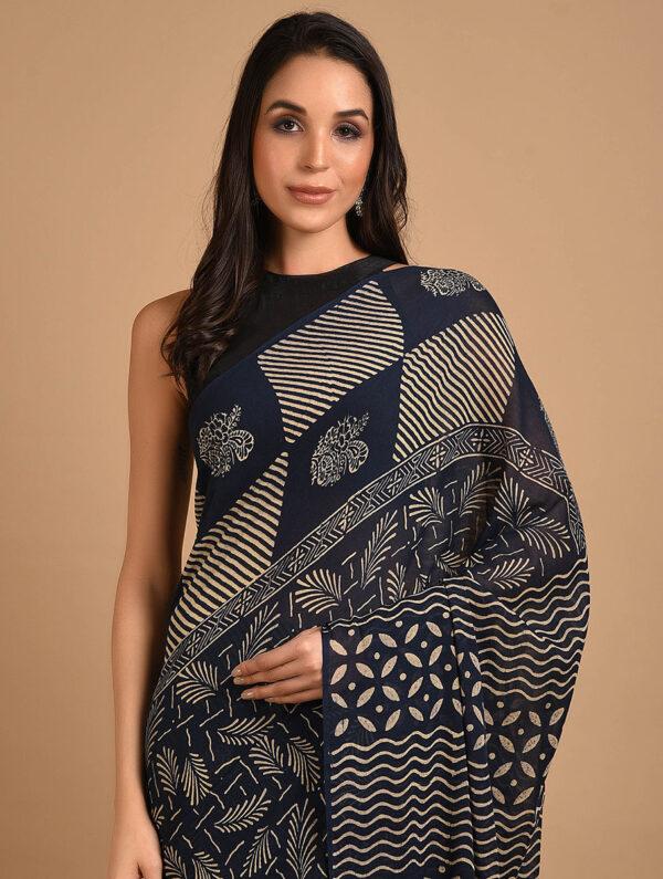 Hand Block Printed Ajrakh Mulmul Blue Saree DS711
