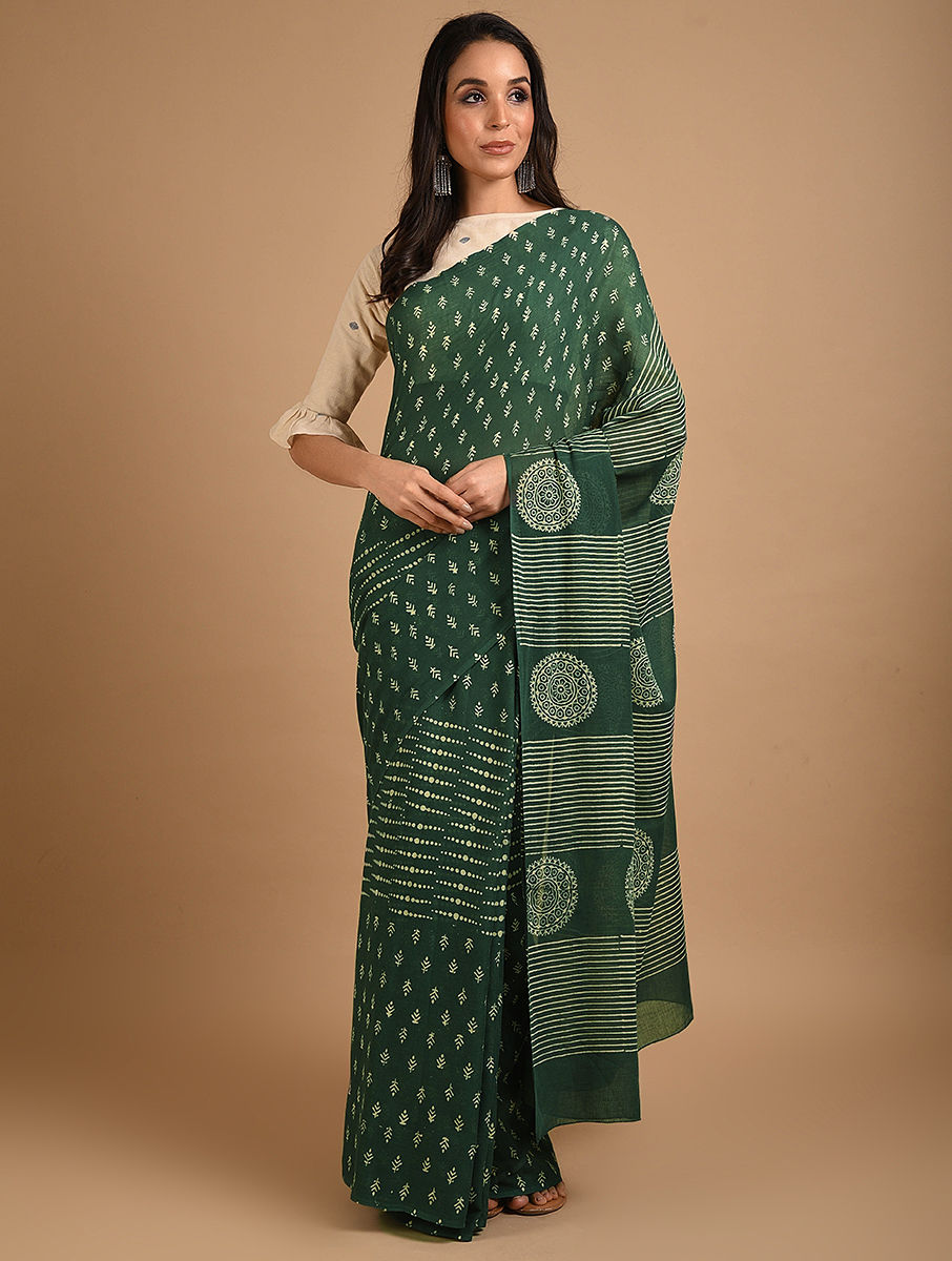 Hand Block Printed Ajrakh Mulmul Green Saree DS7116