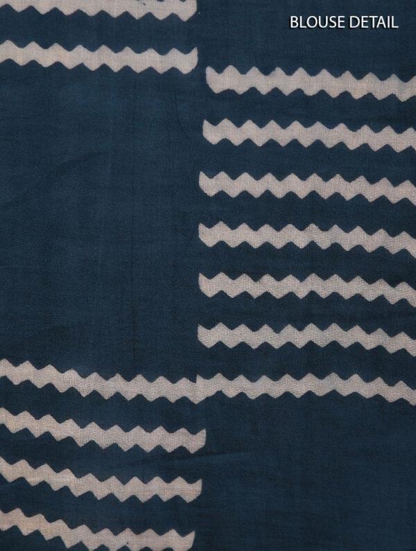 Hand Block Printed Ajrakh Mulmul Blue Saree DS7110