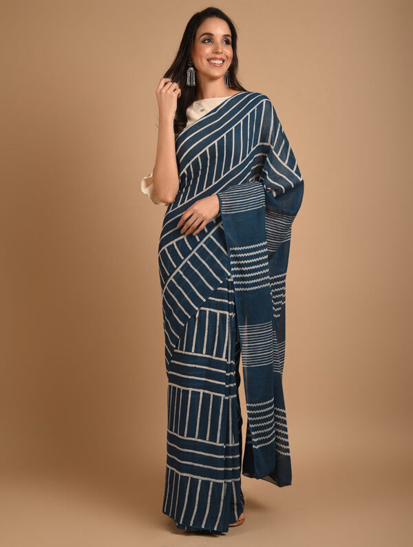 Hand Block Printed Ajrakh Mulmul Blue Saree DS7115