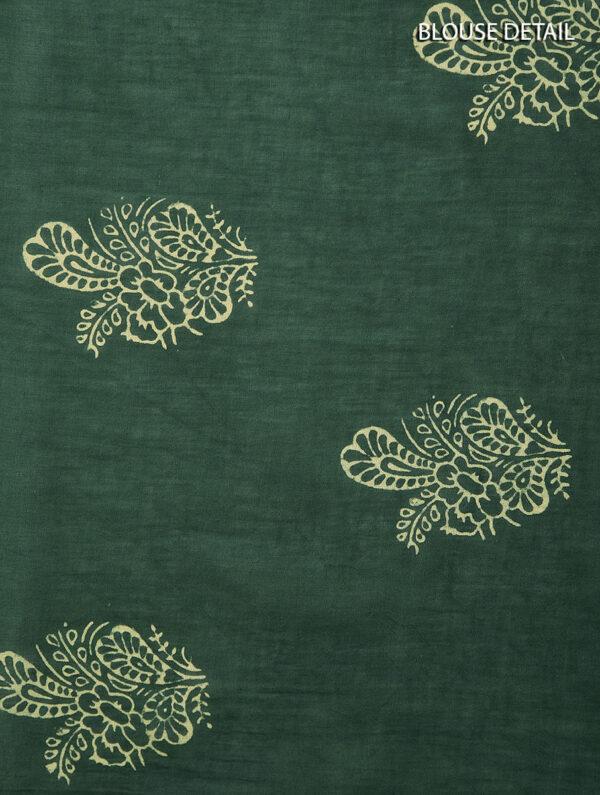Hand Block Printed Ajrakh Mulmul Green Saree DS7114