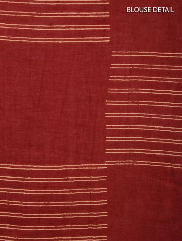 Hand Block Printed Ajrakh Mulmul Maroon Saree DS7113