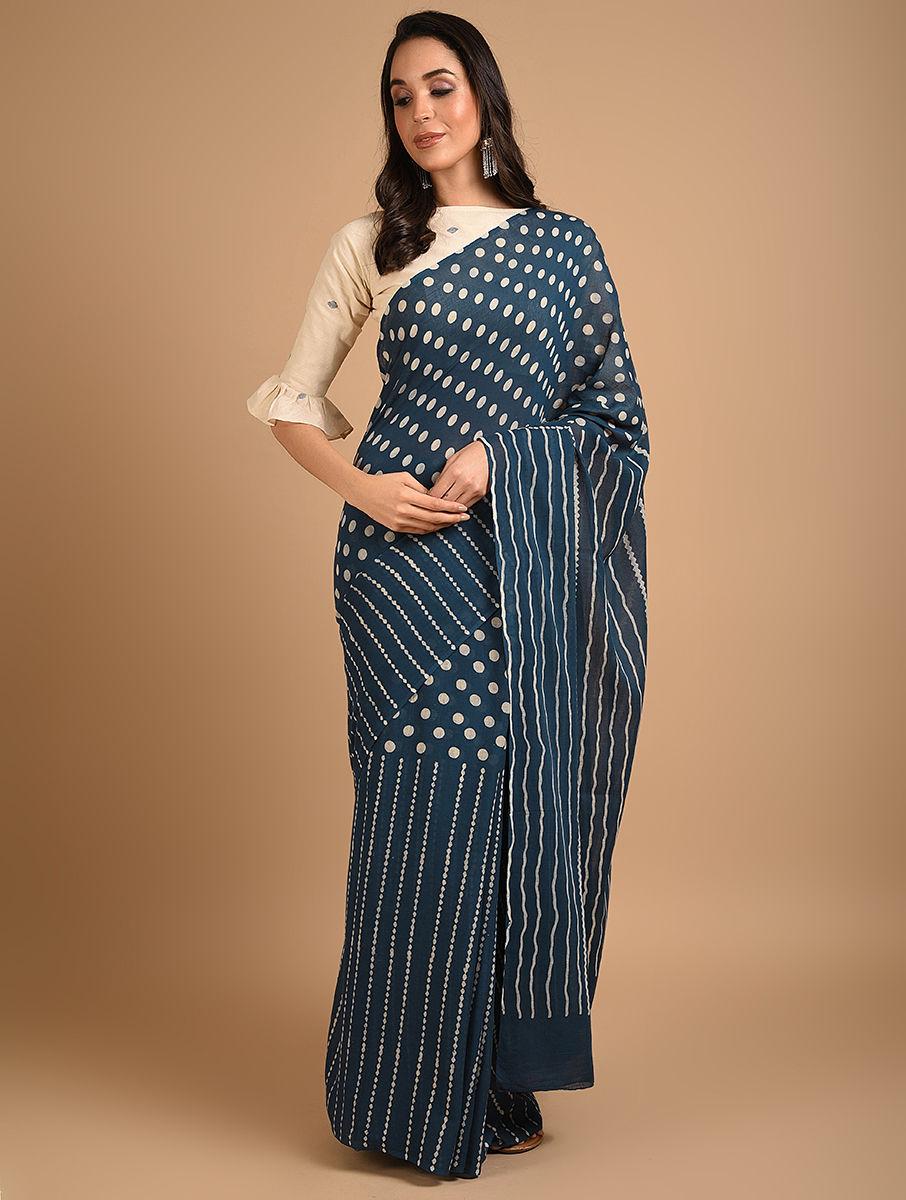 Hand Block Printed Ajrakh Mulmul Blue Saree DS7112
