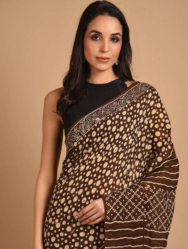 Hand Block Printed Ajrakh Mulmul Brown Saree DS7111