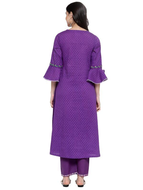 Hand Embroidered Purple Cotton Kurta DARTSTUDIO DS3275