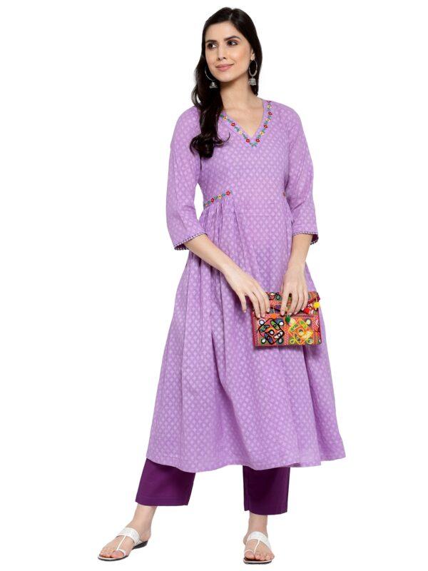 Hand Embroidered Purple Cotton Kurta DARTSTUDIO DS3273